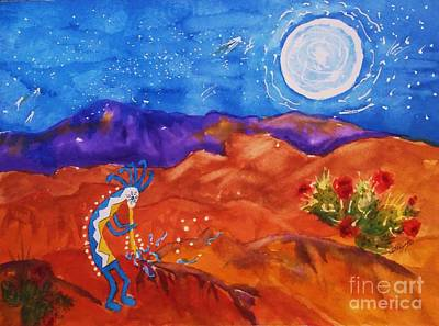 Kokopelli Playing To The Moon Poster by Ellen Levinson