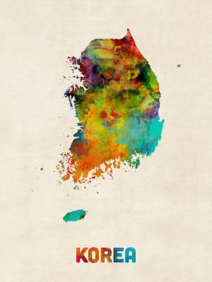 Korea Watercolor Map Poster by Michael Tompsett