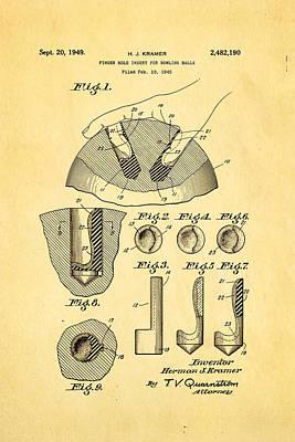 Kramer Bowling Bowl Finger Hole Insert Patent Art 1949 Poster by Ian Monk
