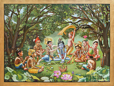 Krishna Eats Lunch With His Friends With Gold Bordure Poster by Dominique Amendola