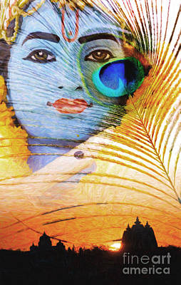 Krishna Temple Sunrise Poster by Tim Gainey