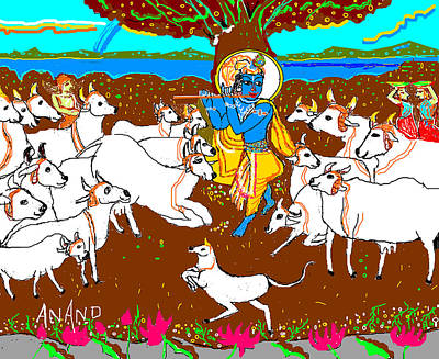 Krishna With The Herd Of Cows Poster by Anand Swaroop Manchiraju