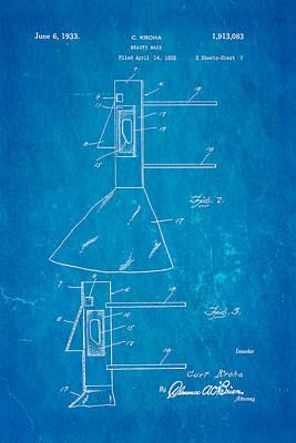 Kroha Beauty Mask Patent Art 1933 Blueprint Poster by Ian Monk