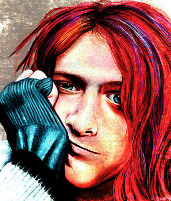 Kurt Cobain - Grungy Version Poster by Shawna Rowe