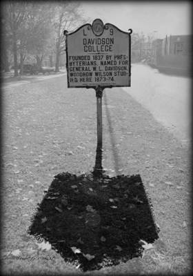 L 9 Davidson College Historical Marker Bw Poster by Paulette B Wright