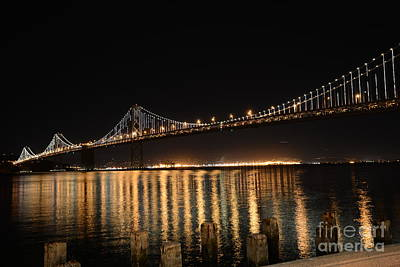 L E D Lights On The Bay Bridge Poster by David Bearden
