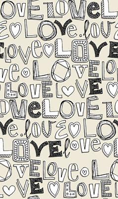 l o v e LOVE ivory white Poster by Sharon Turner