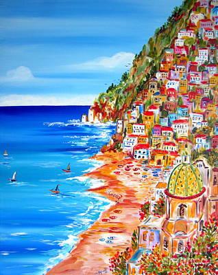 La Bella Positano Amalfi Coast Poster by Roberto Gagliardi