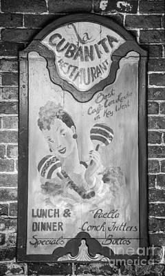 La Cubanita Restaurant Key West - Black And White Poster by Ian Monk
