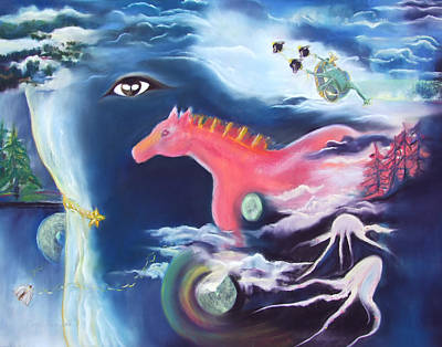 La Reverie Du Cheval Rose Or Dream Quest Of The Pink Horse. Poster by Marie-Claire Dole