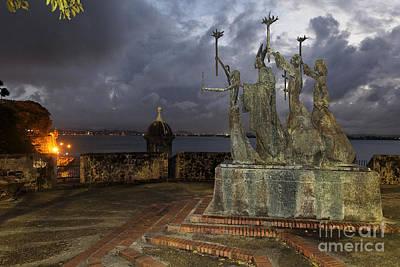 La Rogativa Plaza At Night Poster by George Oze