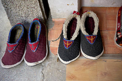 Ladakh, India Traditional Fabric Shoes Poster by Jaina Mishra