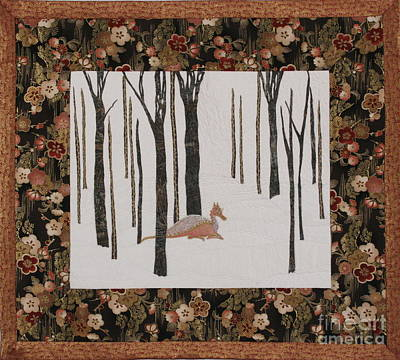 Lady Dragon Stroll Through A Snowy Forest Poster by Elena Kazmier Miranda Radock