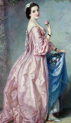 Lady Holding Flowers In Her Petticoat Poster by Augustus Jules Bouvier