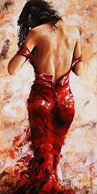 Lady In Red #24 Large  Poster by Emerico Imre Toth