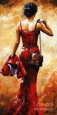 Lady In Red #25 Poster by Emerico Imre Toth