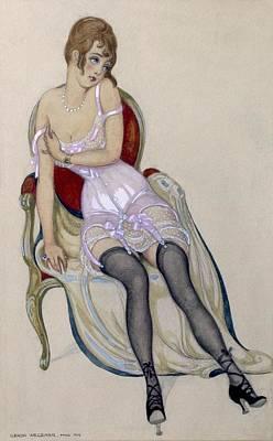 Lady In Underwear, 1917 Poster by Gerda Marie Frederike Wegener