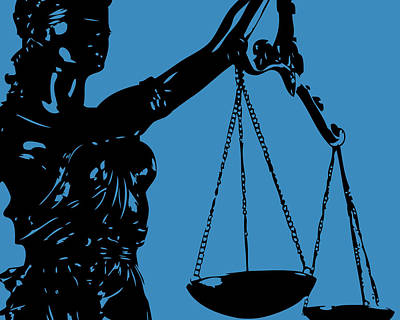 Lady Justice Blue Poster by Flo Karp