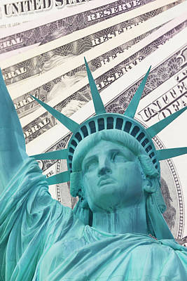Lady Liberty And Dollars Background Poster by Jaroslav Frank