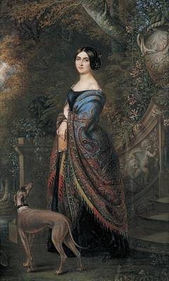 Lady With A Greyhound, C.1839-42 Wc On Paper Poster by Daniel Saint
