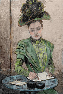 Lady Writing A Letter Poster by Prisma Archivo