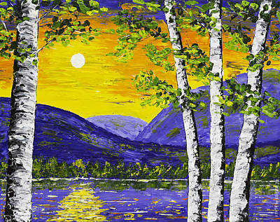 Lake And Mountains At Sunset Palette Knife Painting Poster by Keith Webber Jr