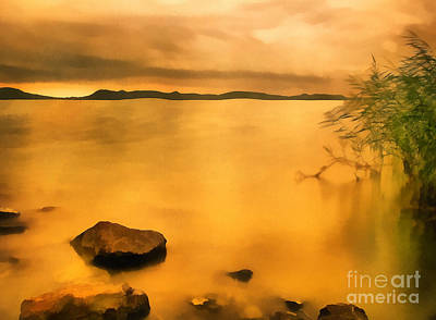 Lake Balaton Sunset Paint Poster by Odon Czintos
