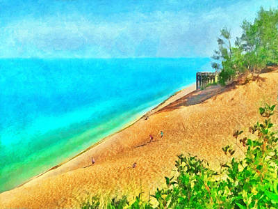 Lake Michigan Overlook On The Pierce Stocking Scenic Drive Poster by Digital Photographic Arts