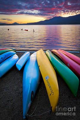 Lake Quinault Kayaks Poster by Inge Johnsson