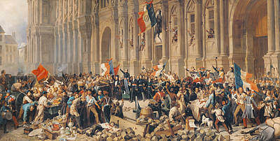 Lamartine Rejects The Red Flag In 1848 Oil On Canvas Poster by Felix Philippoteaux
