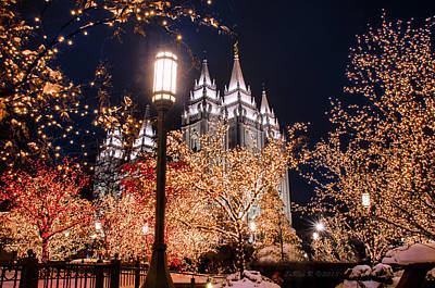 Lamp Post Slc Temple Poster by La Rae  Roberts