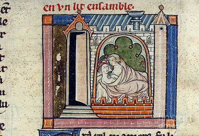 Lancelot And Guinevere In Bed Poster by British Library