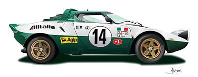 Lancia Stratos Hf On White Poster by Alain Jamar