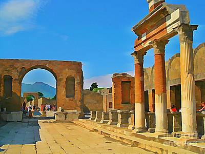 Landscape At Pompeii Italy Ruins Poster by John Malone