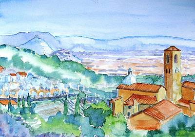 Tuscany Valley  Medieval Village Of Massa Poster by Trudi Doyle