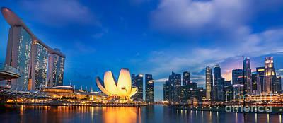 Landscape Of Singapore City  Poster by Anek Suwannaphoom