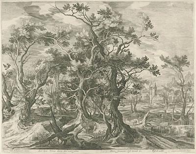 Landscape With A Prophet Torn By A Lion From Judah Poster by Jan Van Londerseel And Gillis Claesz. De Hondecoeter And Claes Jansz. Visscher Ii