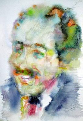 Langston Hughes - Watercolor Portrait Poster by Fabrizio Cassetta