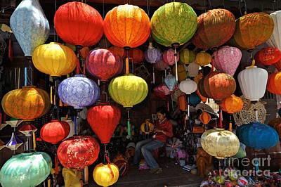 Lanterns Hanging In Shop In Hoi An Poster by Sami Sarkis