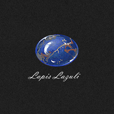 Lapis Lazuli Cabochon Black Poster by Marie Esther NC