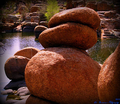 Large Granite Boulders At The Lake Poster by Aaron Burrows