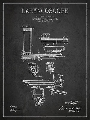 Laryngoscope Patent From 1937  - Dark Poster by Aged Pixel