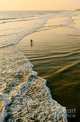 Last Wave - Lone Surfer Waiting For The Perfect Wave In Huntington Beach Poster by Jamie Pham