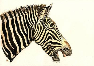 Laughing Zebra Poster by Juan  Bosco