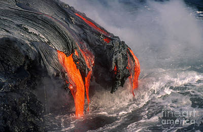Lava Flows Into The Sea, Hawaii Poster by Art Wolfe