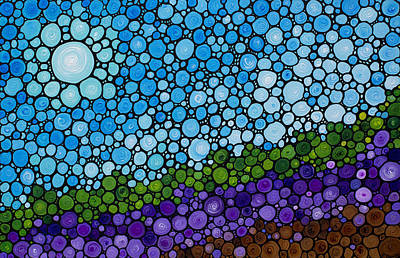 Lavender Fields - France French Landscape Art Poster by Sharon Cummings