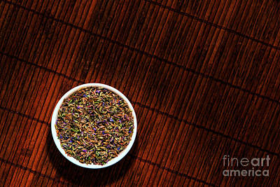 Lavender Flower Seeds In Dish Poster by Olivier Le Queinec