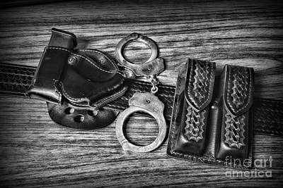 Law Enforcement - Police - Duty Belt In Black And White Poster by Paul Ward