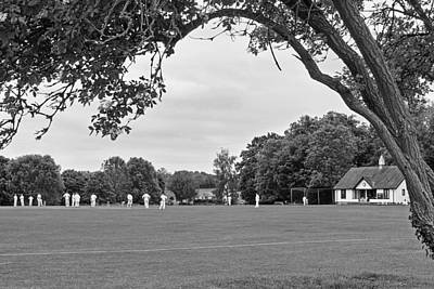 Lazy Sunday Afternoon - Cricket On The Village Green Bw Poster by Gill Billington