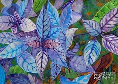 Leafy Blues Poster by Caroline Street
